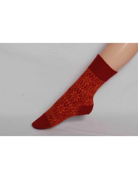 Noorse sokken in oranje/rood (wol)