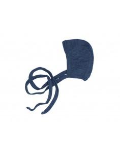 Strikmutsje van wol in blauw