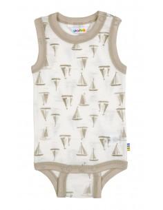Baby rompertje zonder mouwen met bootjes (wol)