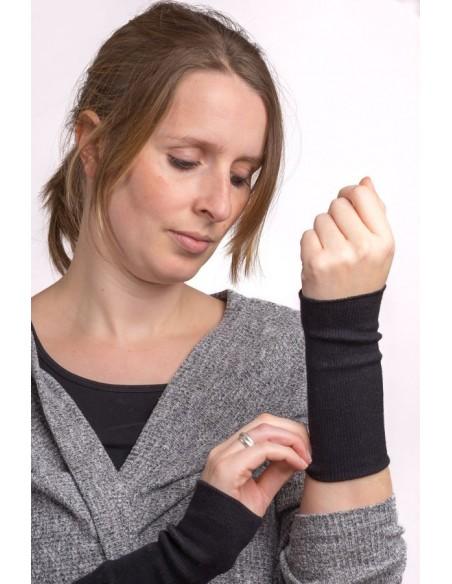 Polswarmers in zwart (wol-zijde)