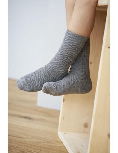 Sokken van wol-katoen in grijs