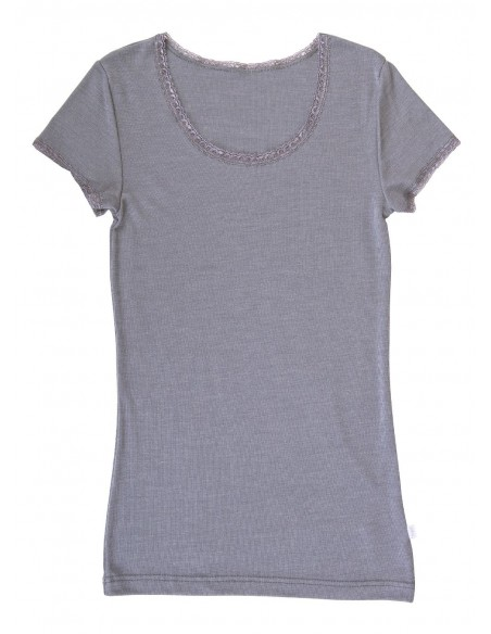 T-shirt in platinagrijs (wol-zijde)