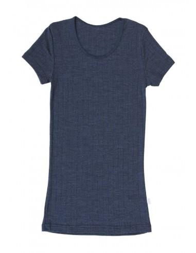 T-shirt in blauw (wol-zijde)