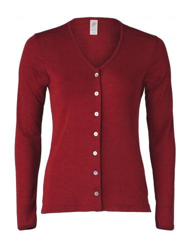 Damesvest malve-rood (wol-zijde)