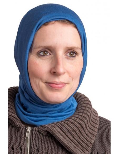 Rondgebreide sjaal in blauw (wol-zijde)