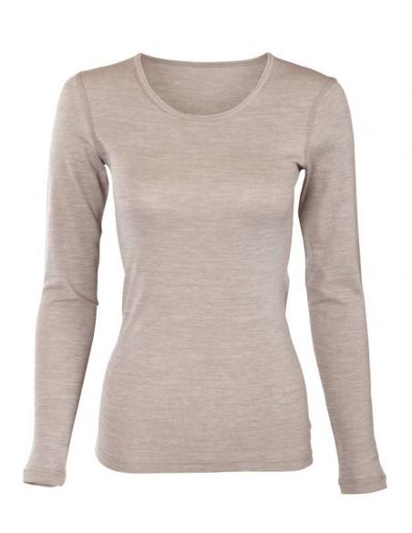 Shirt in zandkleur (wol-katoen)