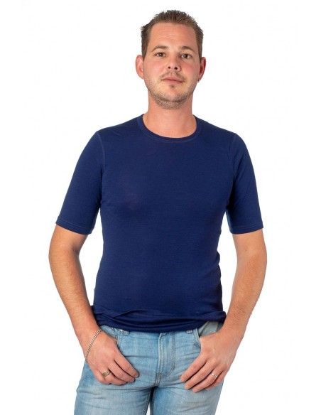 Heren T-shirt in blauw (Merinowol)