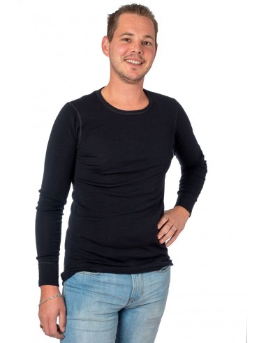 Herenshirt in zwart (wol)