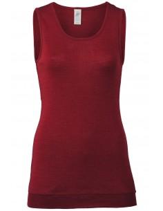 Extra lange damestop in malve-rood (wol-zijde)
