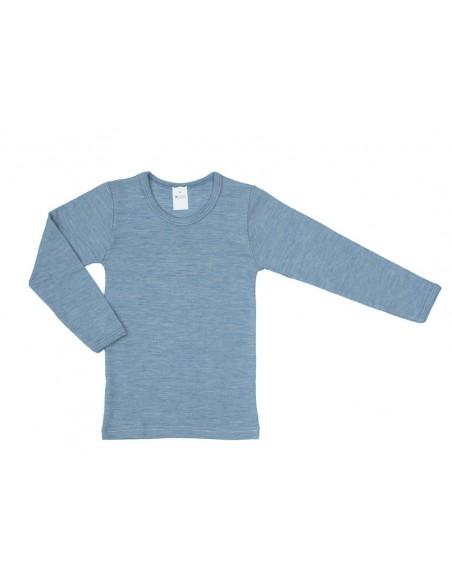 Longsleeve in jeansblauw (wol-zijde)