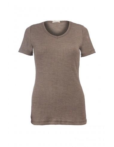 T-shirt met V-hals in walnoot (wol-zijde)