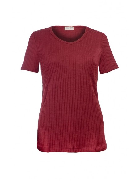 T-shirt met V-hals in bordeaux (wol-zijde)
