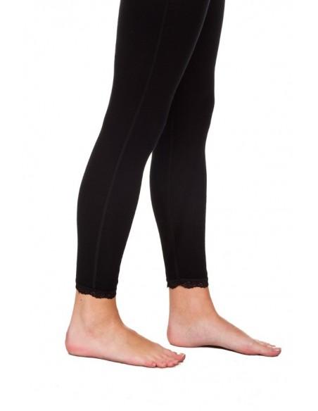 Legging in zwart met kantje (wol)