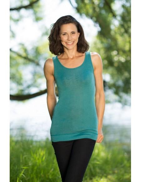 Longshirt in turquoise (wol-zijde)