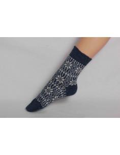 Noorse sokken in blauw/wit (wol)