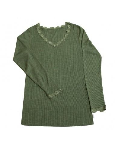 Dames longsleeve met kantje in groen...