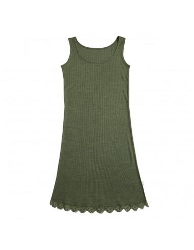 Onderjurk in groen (wol-zijde)