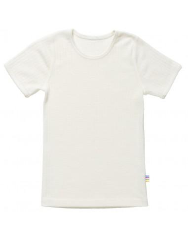 wol katoenen T-shirt voor kinderen in naturel