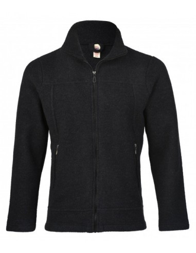 Herenfleece vest in zwart (wol-fleece)