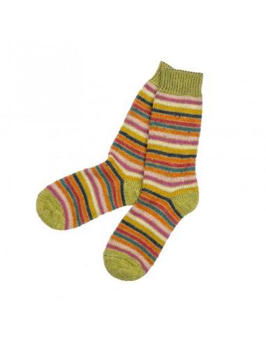 Noorse sokken in groenstreep (wol)