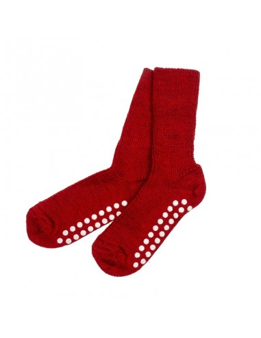 Rode anti-slipsokken (biologische wol)