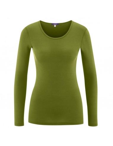 Shirt in avocadokleur (wol-katoen)