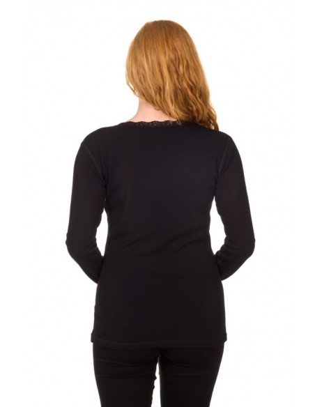 Dames longsleeve van Merinowol met kantje in zwart
