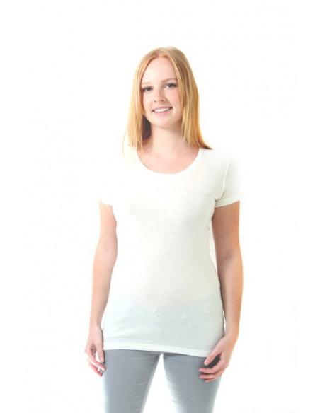 Dames T-shirt van Merinowol met kantje in naturel