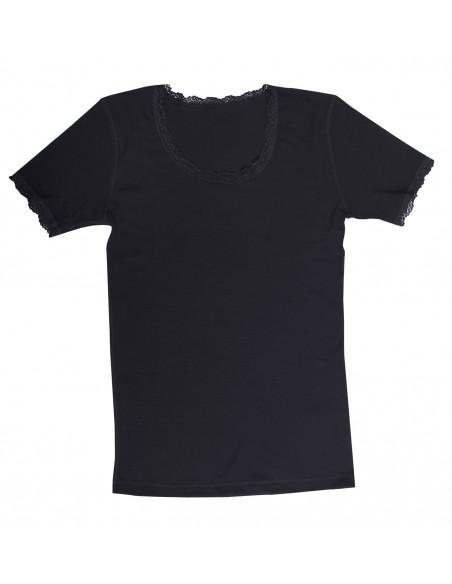 Dames T-shirt van Merinowol met kantje zwart