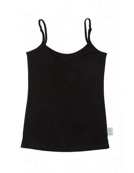 Hemd met verstelbare spaghettibandjes in zwart (Coconelle zijde)