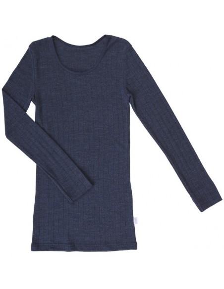 Longsleeve in donkerblauw (wol-zijde)