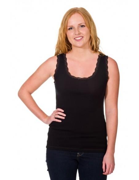 Hemd in zwart met kantje (wol)