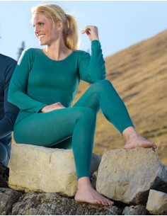 Longsleeve in turquoise - eisvogel (wol-zijde)