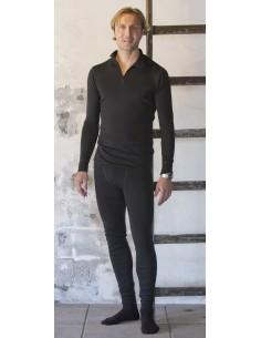Herenshirt met rits in zwart (wol)