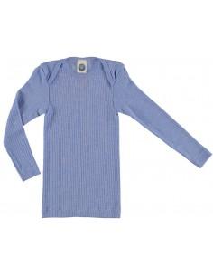 Longsleeve in lichtblauw (wol/katoen/zijde)