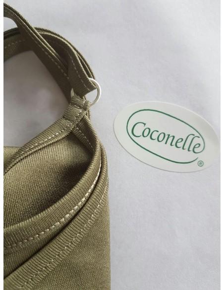 Hemd met verstelbare spaghettibandjes in olijfgroen (Coconelle zijde)