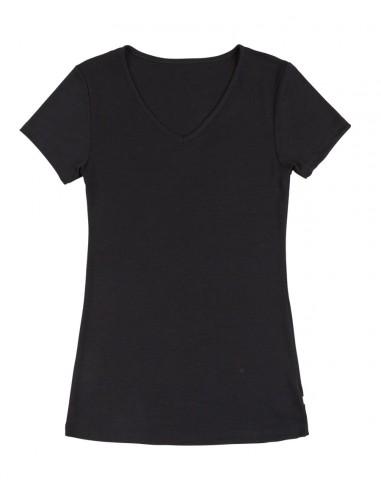T-shirt met V-hals in zwart (wol-zijde)