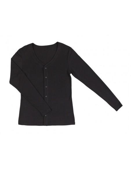 Damesvest zwart (wol-zijde)