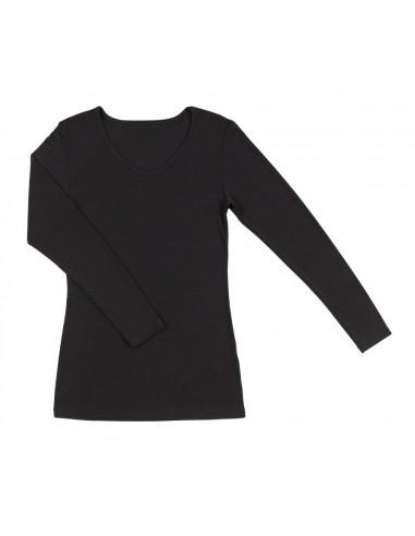 Longsleeve in zwart (wol-zijde)