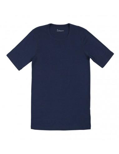 Heren T-shirt in blauw (Merinowol) S