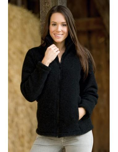 Vest in zwart melange (biologische fleece wol)
