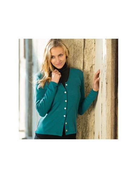 Damesvest turquoise (wol)