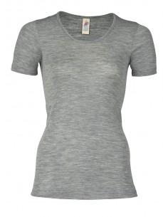 T-shirt in grijs (wol-zijde)
