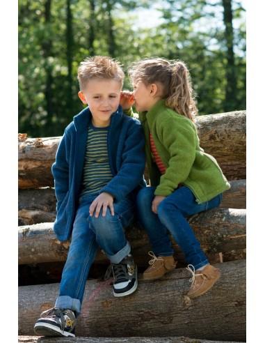 Kindervest in blauw (biologische fleece wol)
